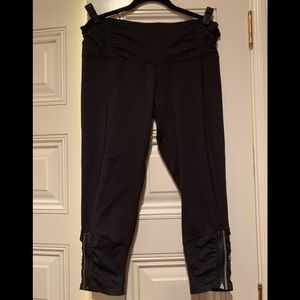 Lululemon Black Pant w/ Zipper and Ruching @Ankle